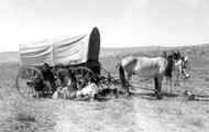 Coverd wagons such as these could get stuck in the mud.