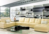 MODERN EURO DESIGN ITALIAN BEIGE LEATHER SECTIONAL SOFA SET VG085