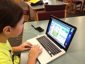 Creating a story using Lego Story Creator at Memorial School