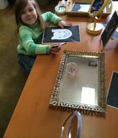 Skylar is impressed with her masterpiece