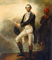 Portrait of George Washington and his valet slave William Lee.