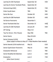Senior Event Dates