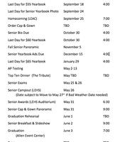 Senior Event Dates