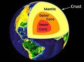 What are the features of the earths crust, mantle, and core?
