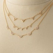 Pave Chevron Necklace Gold