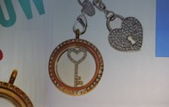 Gold and CZ window Key Window Plate, and silver heart dangle
