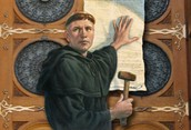 Martin Luther nailing the 95 Theses to the Church door