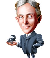 Henry Ford as a cartoon