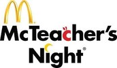 McDonald's McTeacher Night is September 29 from 5:00-8:00 PM