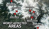 Worst affected areas.