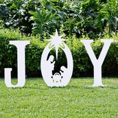Christmas Joy Yard Sign with Holy Family