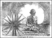 Spinning cotton to make his clothes