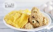 teddy bear made out of rice egg bananana.