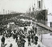 Immigrants Boarding Steamships in Africa