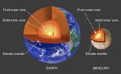 Core comparison of Earth and Mercury