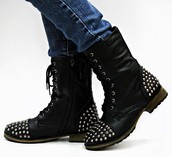 Black Combat Boots with Silver Studs