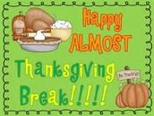 Nov. 23- 27: NO SCHOOL!
