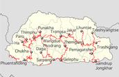 Map of Bhutan's Major Cities