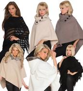 Womens Cape Batwing Wool Poncho Jacket Ladies Winter Warm Cardigan Fur Coat