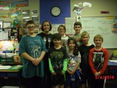 Mrs. Leonard's students pose for a picture with Brendan Rains,
