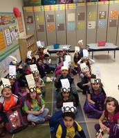 Kinder wearing their 100 day hats.