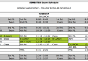 Semester Exam Schedule - Tuesday