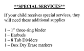 Special Services Supplies