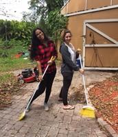 Yakira and Lindsay sweep the path