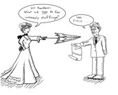 Political Cartoon showing the ease of Wilson toward's women's suffrage