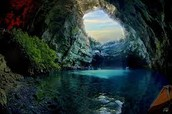 Melissani Cave during the summer.