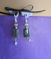 Labradorite, faceted peridot, & sterling silver leverback earrings  by Missy Deadmond