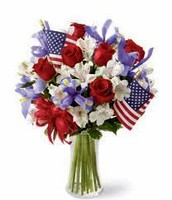 Roses and Lilies Arrangement with Flags