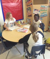 Caroline, Zakyah and Kamryn playing addition game