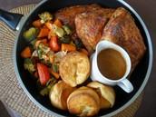 Sunday roast with Yorkshire pudding