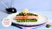 Cena-Lomo de salmón con costra de pistachos y judías verdes salteadas