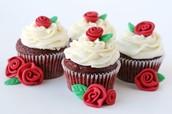 Red Velvet Flower Cupcakes