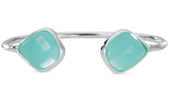 Serenity Stone bangle - silver/light blue
