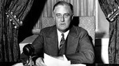 Franklin Roosevelt talking to reporters