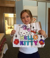Zoe and her project on Hello Kitty