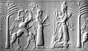 A carving of Mesopotamian gods and godesses