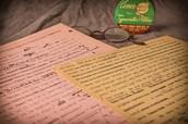 Handwritten notes on first novel