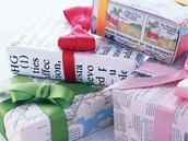 Use recycled maps, comics, and newspaper to wrap gifts.