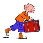 Jules heeft zijn rode logeerkoffer bij