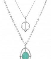 Fortuna Stone Drop Pendant - Silver