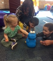 Feeding Cookie Monster is great practice!