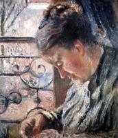Ritratto di Madame Pissarro che cuce alla finestra, Pissarro, 1878