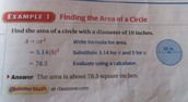 how to find the 'area of a circle'