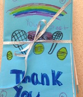 We are sending our thank you notes to the Quick Start president...who also teaches tennis at Camp Friendship!