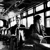 Rosa Parks on the bus where she stood up for herself and her rights