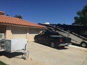 36 feet bof RV parking, 3 car agarage with pull through